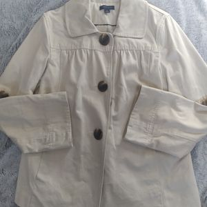 Tommy Hilfiger clasdic look button up collared waist length beige trench coat
